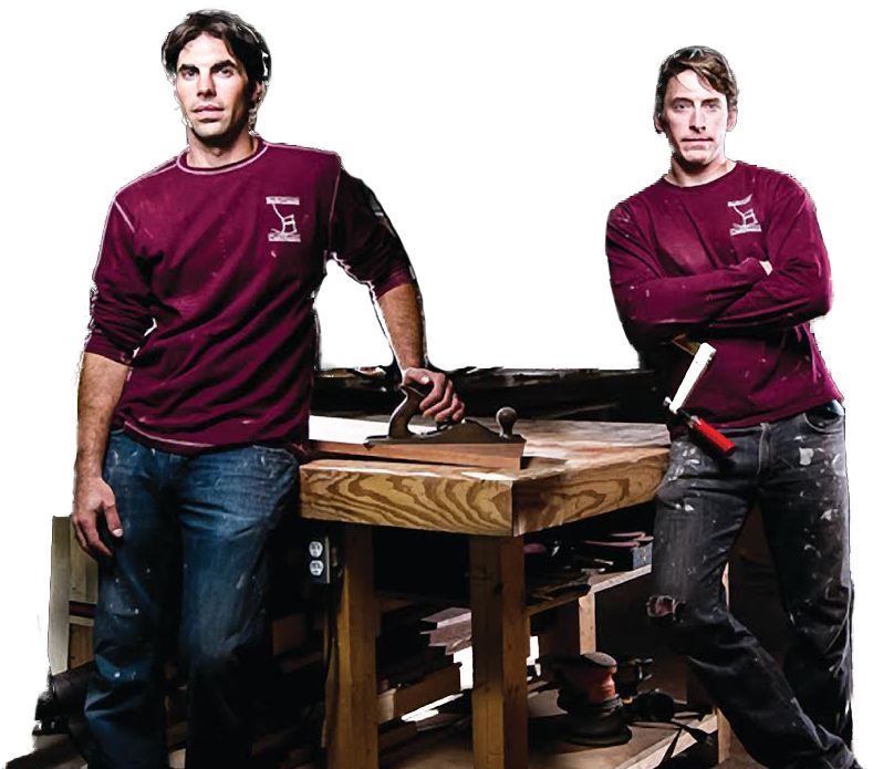 Two guys in maroon shirts