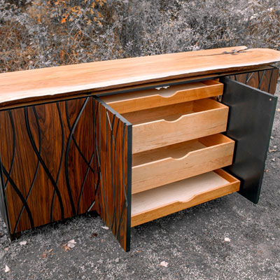 wooden bar with pull out drawers