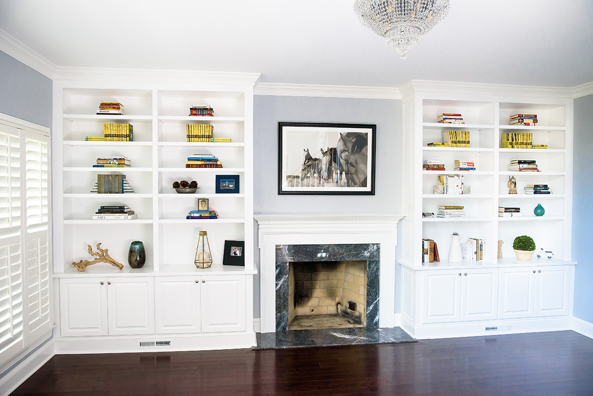 remodled cabinets around fireplace